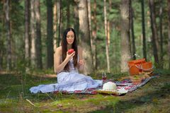 Beautiful caucasian woman at picnic in forest Stock Photos