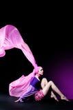 Beautiful caucasian woman in pink elegant dress Royalty Free Stock Image