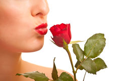 Beautiful caucasian woman with red roses isolated Stock Photo