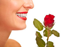 Beautiful caucasian woman with red roses isolated Royalty Free Stock Photos