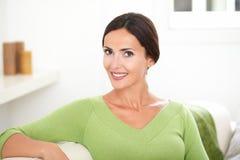 Beautiful caucasian woman smiling at indoors Royalty Free Stock Images
