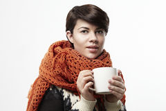 Beautiful caucasian woman smiling with a white cup. Concept design layout. Stock Photography