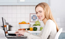 Beautiful caucasian woman working on laptop. Stock Images