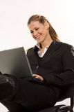 Beautiful caucasian woman working at  laptop over Stock Photo