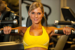 Beautiful caucasian woman working out her arms in fitness Stock Image