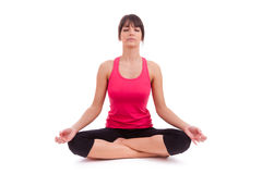 Beautiful caucasian woman in yoga position Royalty Free Stock Image