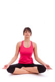 Beautiful caucasian woman in yoga position Royalty Free Stock Photos