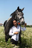 Beautiful caucasian young woman and horse portrait Royalty Free Stock Photo
