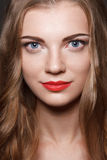 Beautiful caucasian young woman with red lips make Stock Photos