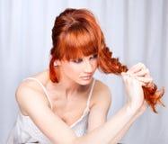 beautiful caucasian young woman, studio shot Stock Photos