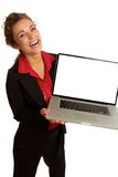 Beautiful caucasion business female happy holding laptop Royalty Free Stock Image