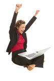 Beautiful caucasion female with laptop excited Royalty Free Stock Images