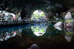 Beautiful cave in Jameos del Agua with white blind crabs, Lanzarote, Canary Islands, Spain.  stock images