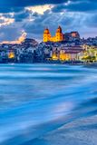 Beautiful Cefalu at the north coast of Sicily. Before sunrise royalty free stock photos