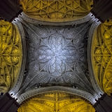 Beautiful Ceiling in the Cathedral in Seville, Spain Royalty Free Stock Images