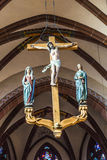 Beautiful ceiling and crucifix with jesus in the dome in Wetzlar Royalty Free Stock Photo