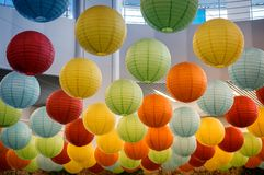 Beautiful ceiling lights in the form of balls. Royalty Free Stock Photography