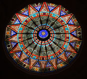 Beautiful ceiling with stained glass. In the library Stock Photo