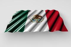 Beautiful celebration flag 3d illustration - shining flag of Mexico with big folds lie isolated on grey. Beautiful shining flag of Mexico with big folds lie vector illustration