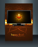 Beautiful celebration happy diwali led tv screen brochu Royalty Free Stock Images