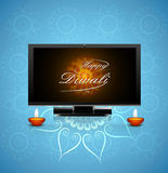 Beautiful celebration happy diwali led tv screen festival Royalty Free Stock Photos