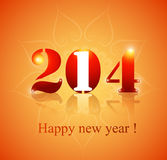 Beautiful celebration Happy new Year 2014. Reflection colorful background illustration Stock Illustration