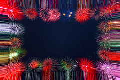 Beautiful celebration holiday fireworks frame Royalty Free Stock Photography