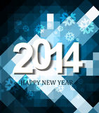 Beautiful celebration holiday Happy new Year 2014. Background wave blue colorful Stock Illustration