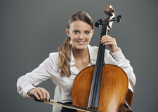 Beautiful cellist Stock Images