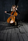 Beautiful cello musician Royalty Free Stock Photography