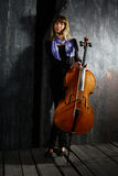 Beautiful cello musician Stock Image