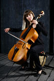 Beautiful cello musician Stock Photography