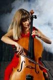 Beautiful cello musician Royalty Free Stock Photos