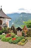 Beautiful cemetery in Hallstatt, Austria. Hallstatt is a small Austrian municipality at Hallstätter See in the state of Upper Austria. Main industries are stock photos