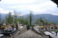 Path through hillside graveyard royalty free stock photos