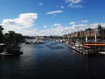 Beautiful center of Stockholm lake, river. Summer royalty free stock photos