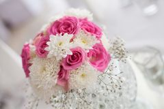 Beautiful centerpiece flower decoration on dining table - Close Stock Photography