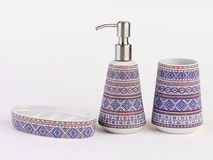 Beautiful ceramic bathroom accessories isolated. On white background Royalty Free Stock Photo