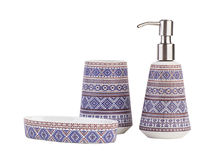 Beautiful ceramic bathroom accessories isolated. On white background Royalty Free Stock Image