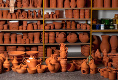 Beautiful ceramic products in the pottery workshop Stock Photos