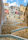 Beautiful ceramic stair in the city of Sciacca. Province of Agrigento, Sicily. Sciacca is a town and comune in the province of Agrigento on the southwestern royalty free stock image