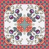 Beautiful ceramic tile or bandana print with tulips flowers and ornamental floral frame in ethnic style. Vector summer design vector illustration