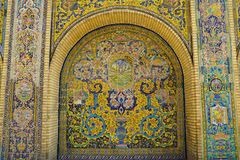 Beautiful ceramic tile wall of Golestan Palace, Iran. Royalty Free Stock Photography