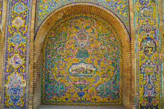 Beautiful ceramic tile wall of Golestan Palace, Iran. Royalty Free Stock Images