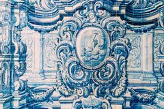 Beautiful Ceramic Wall Texture Pattern Or Azulejos In Lisbon. Portugal stock photography