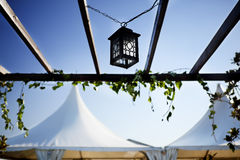 Beautiful ceremony venue with flowers and blue sky Stock Photography