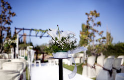 Beautiful ceremony venue with flowers and blue sky Royalty Free Stock Images
