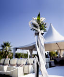 Beautiful ceremony venue with flowers and blue sky Royalty Free Stock Photography