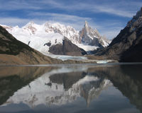 Beautiful Cerro Torre, Argentina. The beautiful moutain peak of Cerro Torre, reflected in a glacial lake at Los Glaciers National Park in near El Chalten Royalty Free Stock Image