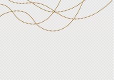 A beautiful chain of Golden color.String beads are realistic insulated. Decorative element of gold bead design.vector. Illustration Royalty Free Stock Photos